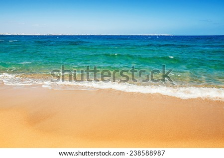 Tropical beach. Sky and sea. Beautiful summer landscape. Travel holiday background