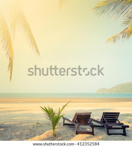 tropical beach, summer background - stock photo