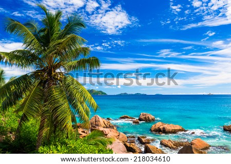 Tropical beach. The Seychelles - stock photo