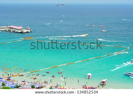 Tropical beach view from Koh Lan view point, Pattaya, Thailand - stock photo