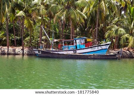 Tropical beach view, India - stock photo
