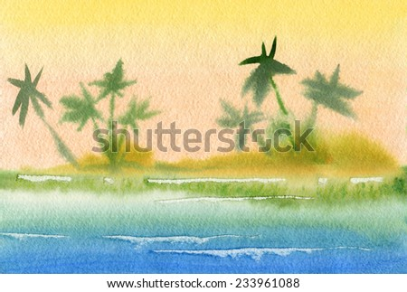 Tropical beach. Watercolor. - stock photo