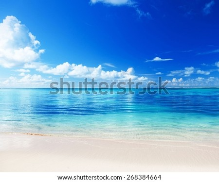 Tropical beach wave retro style - stock photo