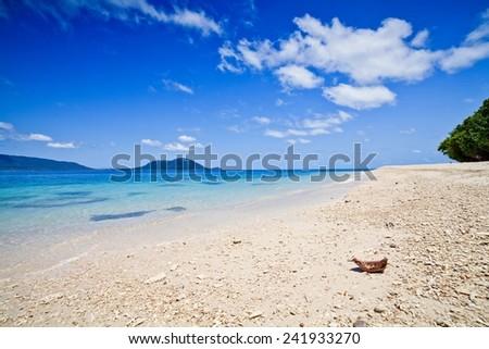 tropical beach with beep blue sky - stock photo