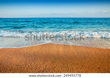 Tropical beach with blue sea. Beautiful summer landscape. Travel holiday background - stock photo