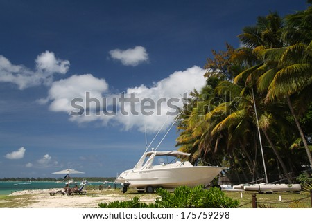 Tropical beach with boat and palms, Mauritius - stock photo