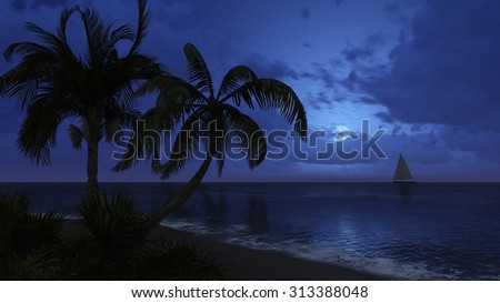 Tropical beach with coconut palm silhouettes and with sailing boat in the distance at night time. Realistic 3D illustration was done from my own 3D rendering file. - stock photo