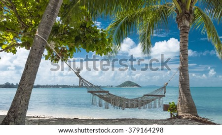 Tropical beach with coconut palm trees and hammock