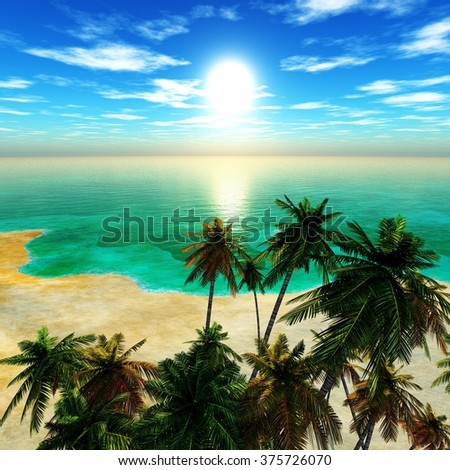 tropical beach with coconut palms on the beach, tropical island - stock photo