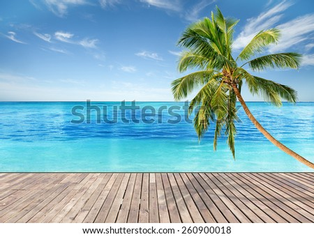 Tropical beach with empty wooden platform and bright blue sky and crystal clear waters - stock photo