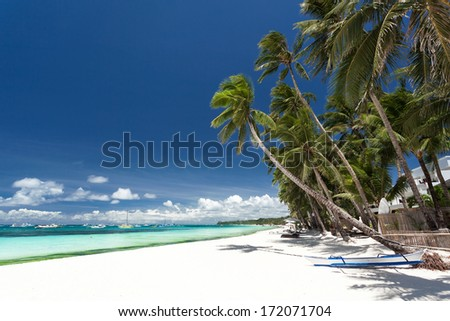 Tropical beach with palm and white sand, Philippines, Boracay