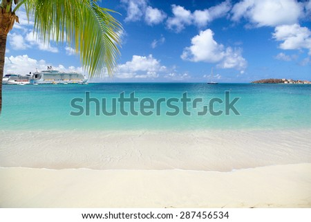 Tropical beach with palm tree and cruise ships in distance - stock photo