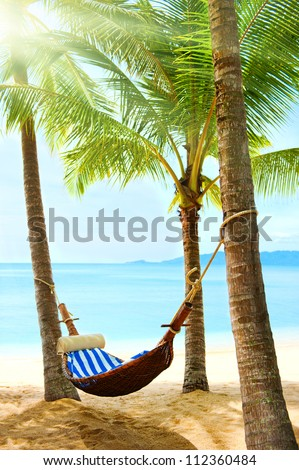 Tropical beach with palm tree and sand - stock photo