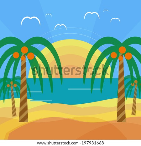 Tropical beach with palm trees. Planning a summer vacation, tourism and journey. Raster version - stock photo