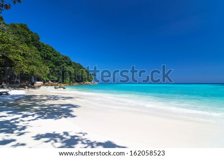 Tropical beach with sea on the sand and trees, ta-chai island south of thailand