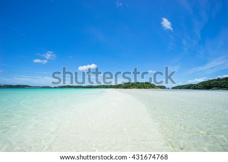 Tropical beach with shallow lagoon water, Ishigaki Island of the Yaeyama Islands, Okinawa, Japan - stock photo