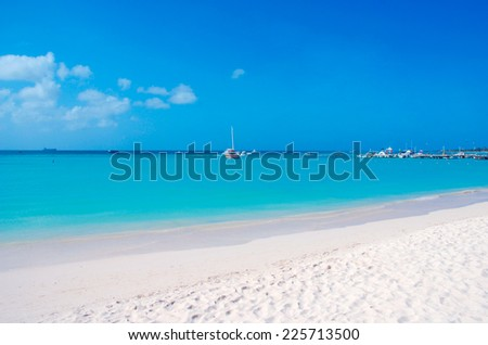 Tropical beach with white sand - stock photo