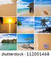 Tropical beaches vacation collage - stock photo