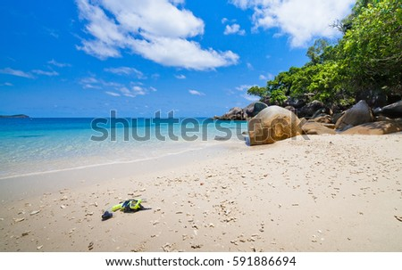 tropical bech with blue sky and green forest