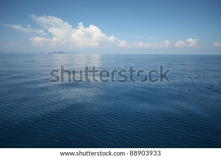 Tropical blue sea and blue sky with clouds. No any post-processing - stock photo