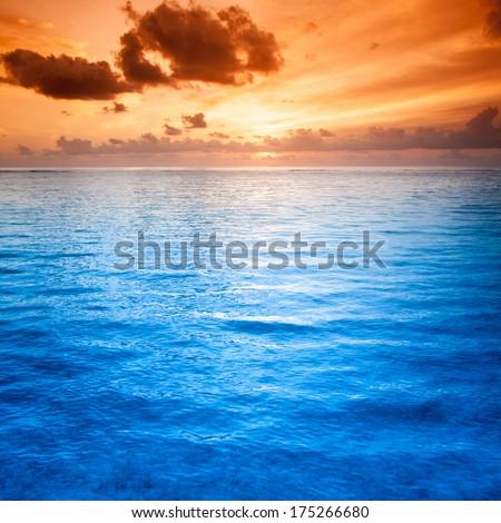 Tropical blue sea water in Maldives - stock photo