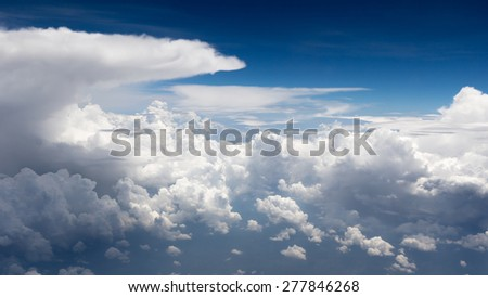 Tropical blue sky and nice clouds - stock photo