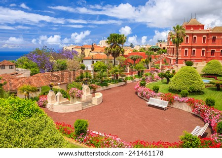 Tropical botanical gardens in La Orotava town, Tenerife, Canary Islands - stock photo