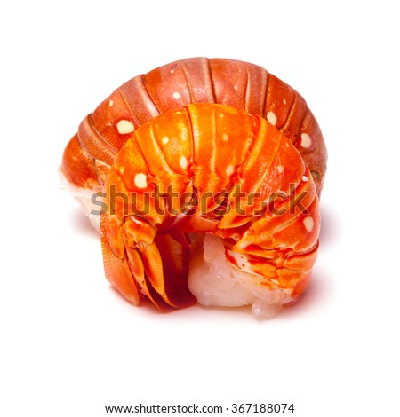 Tropical Caribbean ( Bahamas )  lobster (Panuliirus argus) or spiny lobster tails isolated on a white studio background.