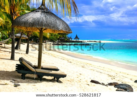 Tropical chilling out - serene beaches of Mauritius island