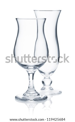 Tropical cocktail glasses. Isolated on white background - stock photo