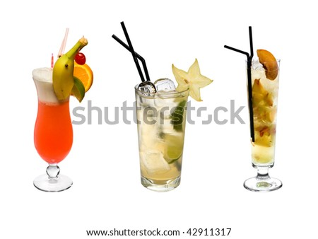 tropical cocktails with fruits and ice