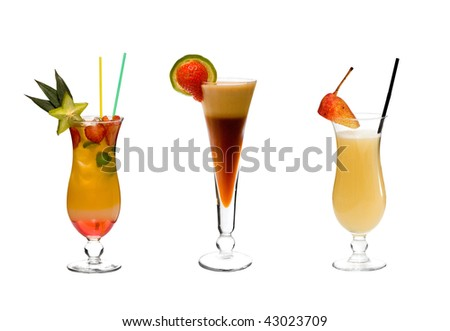 tropical cocktails with fruits and ice - stock photo