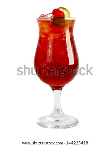 tropical coctail drink with ice cubs,isolated on white backgroun close up - stock photo