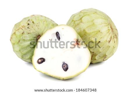 Tropical custard apple fruit on white background - stock photo