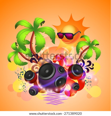Tropical disco dance background with music and fantasy design elements - stock photo