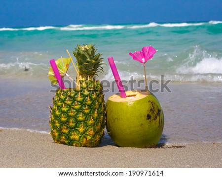 Tropical drinks in fruit