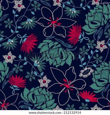 Tropical embroidery lush floral design in a seamless pattern . - stock photo