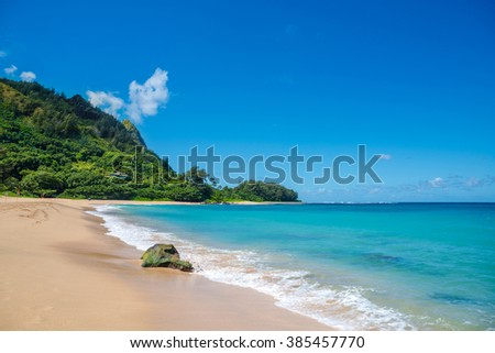 Tropical exotic beach in Haena, Kauai Island, Hawaii - stock photo