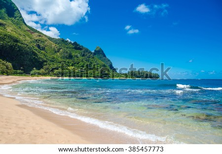 Tropical exotic beach in Haena, Kauai Island, Hawaii