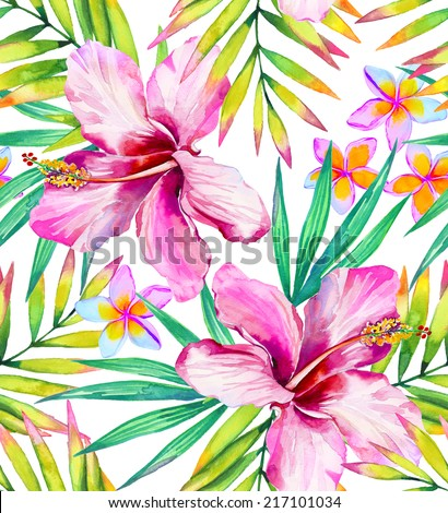 Tropical fashion seamless print with exotic flowers and leaves. Jungle palm leaves and hibiscus. - stock photo