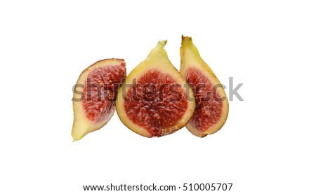Tropical Figs cut in half isolated on white background