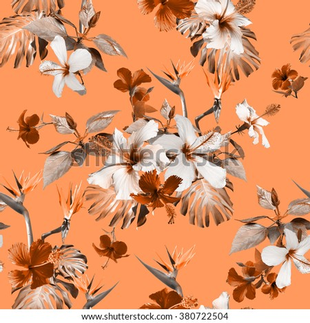 Tropical floral print. Clip art - photo collage. Vintage realistic vintage flowers seamless pattern.  - stock photo