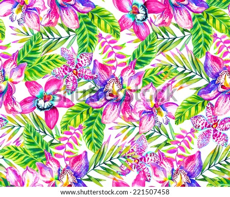 tropical floral seamless pattern illustration in watercolor - stock photo