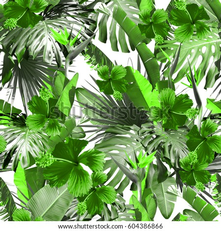 Tropical Floral Trendy Color Jungle Seamless Pattern Amazing Photo Collage Green Natural Print Wallpaper