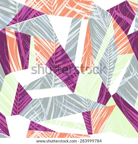 Tropical flower geometry, botanical symmetry background, plant pattern on black. Hawaiian, californian, florida summer style. - stock photo