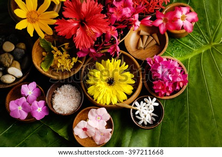 Tropical flower Spa set - stock photo