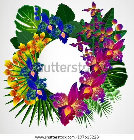 Tropical flowers and leaves. Floral design background. - stock photo