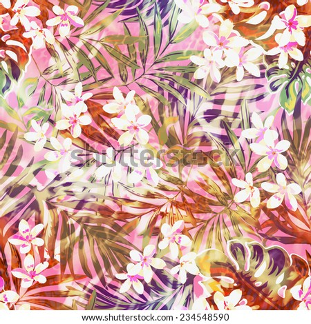 tropical flowers and leaves ~ seamless background - stock photo