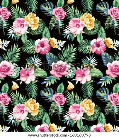 tropical flowers pattern for fashion design  - stock photo