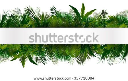 Tropical foliage. Floral design background - stock photo
